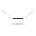 Wholesale 7 Faceted Beads 4mm Silver Choker with Swarovski Crystal - Purple Velvet