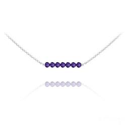 Collier Ras de Cou 7 Perles à Facettes en Cristal et Argent - Purple Velvet