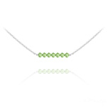 Wholesale 7 Faceted Beads 4mm Silver Choker with Swarovski Crystal - Peridot