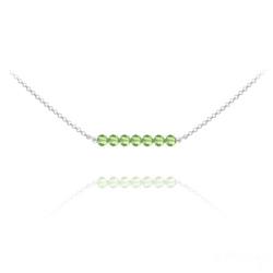 Collier Ras de Cou 7 Perles à Facettes en Cristal et Argent - Vert Péridot