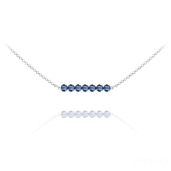 Collier Ras de Cou 7 Perles à Facettes en Cristal et Argent - Bleu Montana