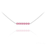 Wholesale 7 Faceted Beads 4mm Silver Choker with Swarovski Crystal - Light Rose