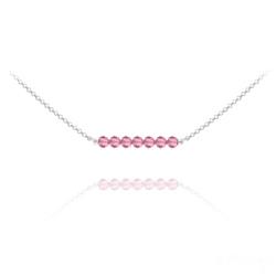 Collier Ras de Cou 7 Perles à Facettes en Cristal et Argent - Light Rose