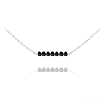 Wholesale 7 Faceted Beads 4mm Silver Choker with Swarovski Crystal - Jet