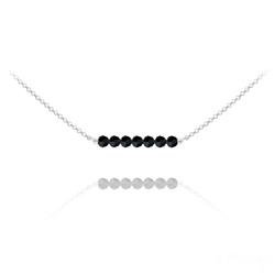Collier Ras de Cou 7 Perles à Facettes en Cristal et Argent - Jet (Noir)