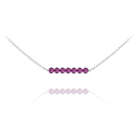 Wholesale 7 Faceted Beads 4mm Silver Choker with Swarovski Crystal - Fuchsia