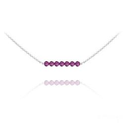 Collier Ras de Cou 7 Perles à Facettes en Cristal et Argent - Fuchsia