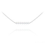 Wholesale 7 Faceted Beads 4mm Silver Choker with Swarovski Crystal - White AB