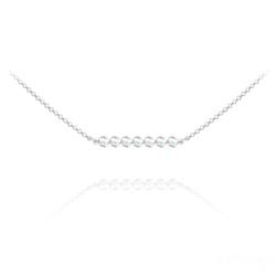 Collier Ras de Cou 7 Perles à Facettes en Cristal et Argent - Aurore Boréale