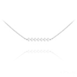 Wholesale 7 Faceted Beads 4mm Silver Choker with Swarovski Crystal - White