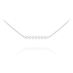 Collier Ras de Cou 7 Perles à Facettes en Cristal et Argent - Blanc