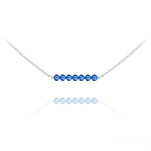 Wholesale 7 Faceted Beads 4mm Silver Choker with Swarovski Crystal - Capri Blue