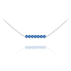 Collier Ras de Cou 7 Perles à Facettes en Cristal et Argent - Capri Blue