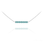 Wholesale 7 Faceted Beads 4mm Silver Choker with Swarovski Crystal - Blue Zircon