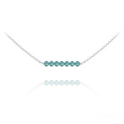 Collier Ras de Cou 7 Perles à Facettes en Cristal et Argent - Bleu Zircon