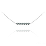 Wholesale 7 Faceted Beads 4mm Silver Choker with Swarovski Crystal - Black Diamond