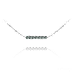 Collier Ras de Cou 7 Perles à Facettes en Cristal et Argent - Black Diamond