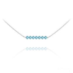 Collier Ras de Cou 7 Perles à Facettes en Cristal et Argent - Bleu Aigue-marine