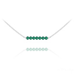 Wholesale 7 Faceted Beads 4mm Silver Choker with Swarovski Crystal - Emerald