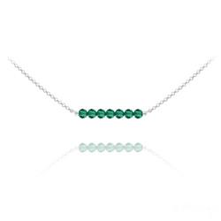 Collier Ras de Cou 7 Perles à Facettes en Cristal et Argent - Émeraude