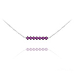 Wholesale 7 Faceted Beads 4mm Silver Choker with Swarovski Crystal - Amethyst