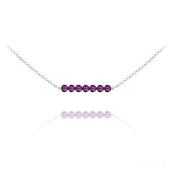 Collier Ras de Cou 7 Perles à Facettes en Cristal et Argent - Améthyste