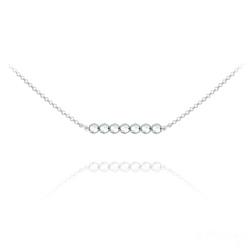 Collier Ras de Cou 7 Perles à Facettes en Cristal et Argent - Argenté