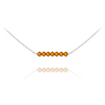Wholesale 7 Faceted Beads 4mm Silver Choker with Swarovski Crystal - Fire Opal