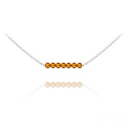 Collier Ras de Cou 7 Perles à Facettes en Cristal et Argent - Fire Opal