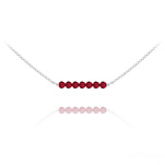 Wholesale 7 Faceted Beads 4mm Silver Choker with Swarovski Crystal - Light Siam