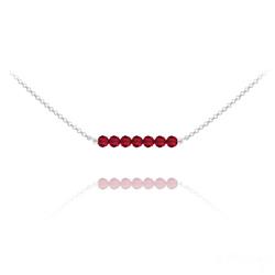 Collier Ras de Cou 7 Perles à Facettes en Cristal et Argent - Rouge Light Siam