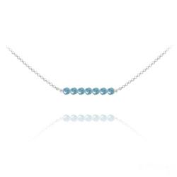 Collier Ras de Cou 7 Perles à Facettes en Cristal et Argent - Turquoise