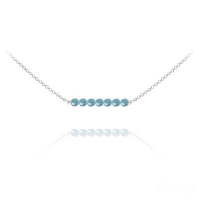 Collier en Cristal et Argent Collier Ras de Cou 7 Perles à Facettes en Cristal et Argent - Turquoise
