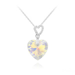 Wholesale 2 Hearts Silver Necklace with Swarovski Crystal - White AB