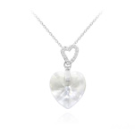 Wholesale 2 Hearts Silver Necklace with Swarovski Crystal - White