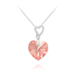 Wholesale 2 Hearts Silver Necklace with Swarovski Crystal - Light Rose AB