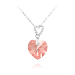 Collier 2 Coeurs en Argent et Cristal Light Rose AB