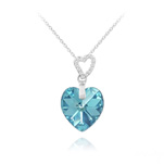 Wholesale 2 Hearts Silver Necklace with Swarovski Crystal - Aquamarine AB