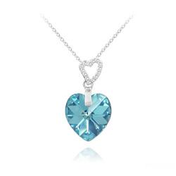 Collier 2 Coeurs en Argent et Cristal Bleu Aigue-marine AB
