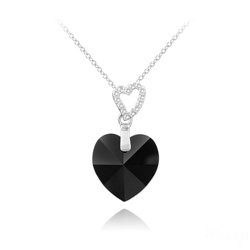 Collier 2 Coeurs en Argent et Cristal Jet (Noir)