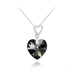 Wholesale 2 Hearts Silver Necklace with Swarovski Crystal - Silver Night