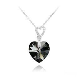 Collier 2 Coeurs en Argent et Cristal Silver Night