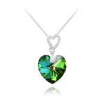 Wholesale 2 Hearts Silver Necklace with Swarovski Crystal - Vitrail Medium