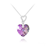 Wholesale 2 Hearts Silver Necklace with Swarovski Crystal - Vitrail Light