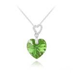 Wholesale 2 Hearts Silver Necklace with Swarovski Crystal - Peridot AB