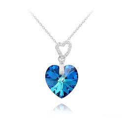 Collier en Cristal et Argent Collier 2 Coeurs en Argent et Cristal Bleu Bermude