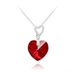 Wholesale 2 Hearts Silver Necklace with Swarovski Crystal - Siam AB