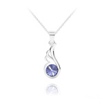 Wholesale Angel Wing Silver Necklace with Swarovski Crystal - Tanzanite