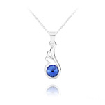 Wholesale Angel Wing Silver Necklace with Swarovski Crystal - Sapphire