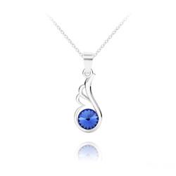 Collier Aile d'Ange en Argent et Cristal Bleu Saphir